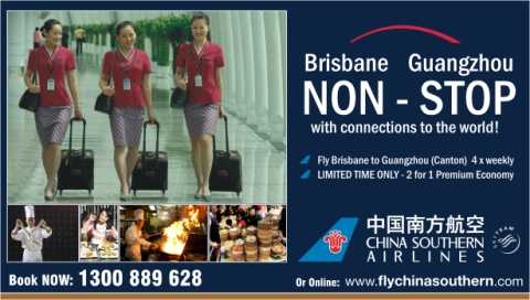 China Southern Airlines Brisbane to Guangzhou Non-Stop