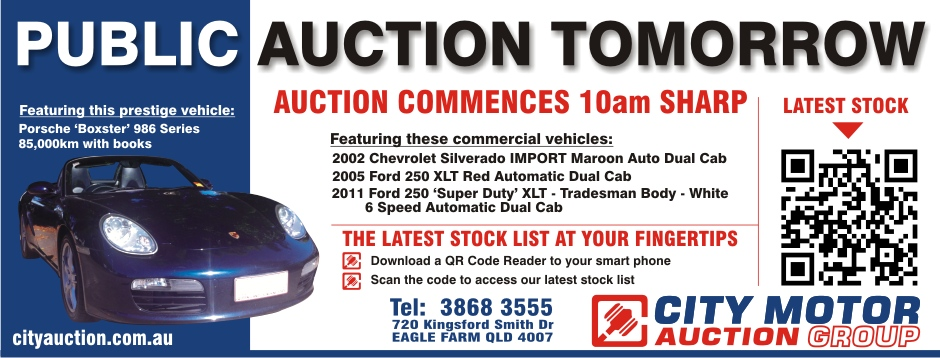 City Motor Auctions Press Ad 2012 featuring QR code